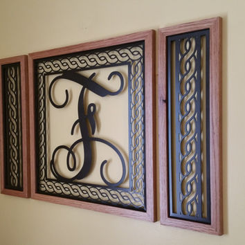 Rope Border Monogrammed Wall Grouping with Solid Oak Border 1-3 Piece Set.