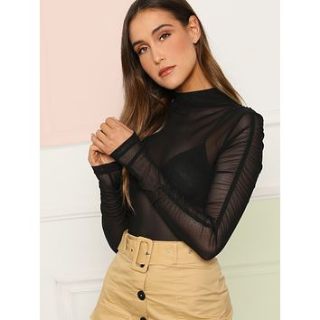 Ruched Detail Sleeve Mesh Top Without Bra