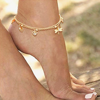 Dragonfly and Flower Ankle Bracelet
