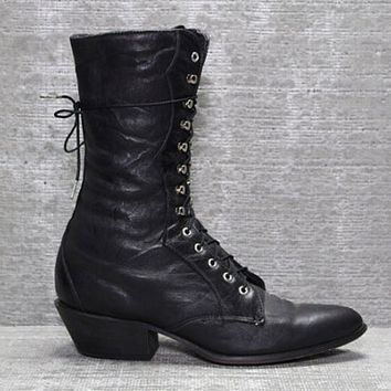 Vtg 80s Black Leather Western Tall Lace up Roper Boots 6.5 7 6 1/2 37