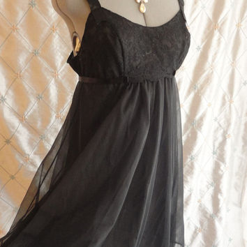 ON SALE 50s 60s Lingerie // Vanity Fair // Vintage 1950s 1960s Black Chiffon Short  Nightgown by Vanity Fair Size M 34
