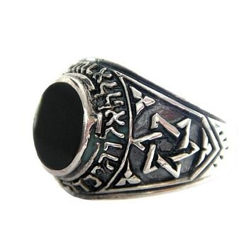 Star Of David Shema Yisrael Onyx Ring