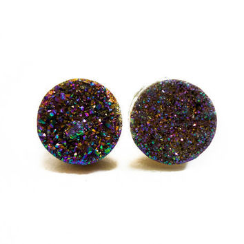 Rainbow Flame Druzy Stud Earrings n52 by AstralEYE on Etsy