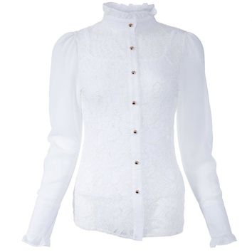 Elegant Stand Collar Long Sleeve Slimming Lace Blouse For Women