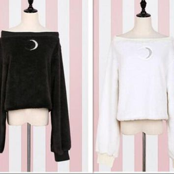 Sailor Moon cosplay autumn models Japanese soft sister Moon pattern hollow sweater sexy sweet cute white black Strapless sweater