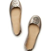 Tory Burch Minnie Travel Ballet Flat With Logo, Metallic Leather
