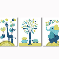 Navy blue green nursery art baby boy room wall decor elephant poster giraffe tree print colorful kids decoration toddler artwork shower gift
