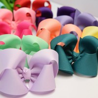 4 Inch Solid Color classic Boutique Hair Bows-82 colors- Hairbows for Girls of all ages! Your Final Touch