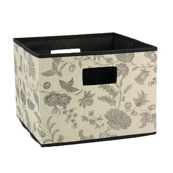 Household Essentials Floral Collapsible Storage Cube (Black)