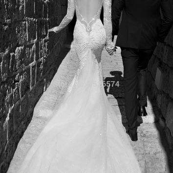 Gorgeous 2015 Galia Lahav Wedding Dresses For Bridal Sexy Mermaid Sweetheart Long Sleeves Backless Chapel Train Lace Bridal Gown