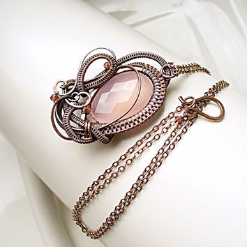 Copper Gemstone Necklace, Rose Chalcedony, Garnet, Copper Wave Necklace, Pale Pink Pendant