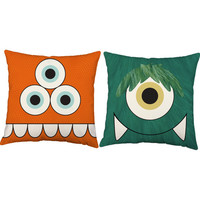 Set of 2 Cute Creatures Throw Pillows - Kid's Monster Pillow Covers with or without Cushion Inserts - Playroom Pillows, Kid's Room Decor