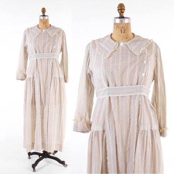 Vintage EDWARDIAN DRESS / 1910s Striped White Plisse Cotton Day Dress L