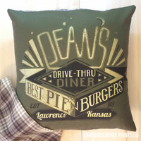 Supernatural - Dean Winchester Pillow Cover - Hand Printed and Sewn