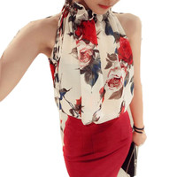 Sleeveless Floral Chiffon Blouse in White or Black