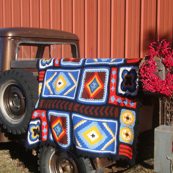 Vintage Afghan Handmade Abstract Patterns and Bright Colors