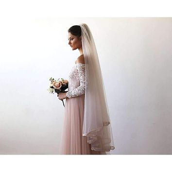 Wedding Veil mid length - Tulle Veil With Lace Trim 4016