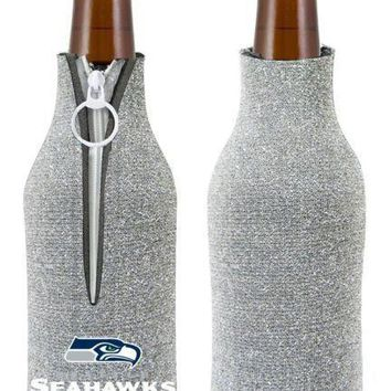 NFL Seattle Seahawks Glitter Zip Up Bottle Coozie Koozie Insulator Holder