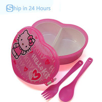 Heart-Shape Hello Kitty Cartoon Lunch Boxes With Fork&Spoon Cute Bento Children Box Microwave Cutlery Set