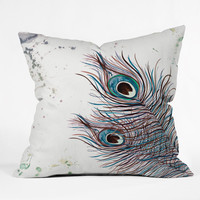 Monika Strigel Boho Peacock Feathers Throw Pillow
