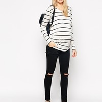 ASOS Maternity Breton Stripe Top With Long Sleeve