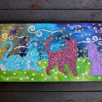 CATS Three Cats Colorful Cat painting  Bright happy cat painting on canvas Original Artwork