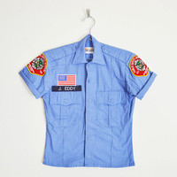 public safety academy shirt, blue uniform shirt, boy scout shirt, boyscout shirt, shrunken tiny fit shirt, 90s shirt, 90s grunge shirt, xs