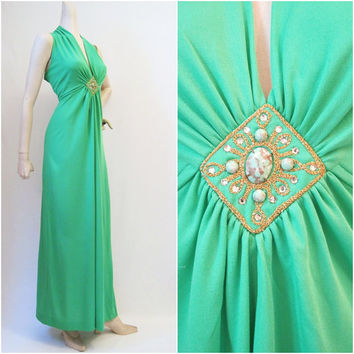 1970s Maxi Dress Vintage Plunging Bust Jeweled by voguevintage