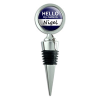 Nigel Hello My Name Is Wine Bottle Stopper