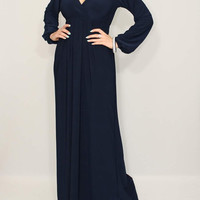 Maxi dress Navy Dress Long Sleeve Dress Women