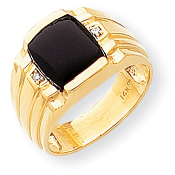 14k Yellow Gold Polished Mens Onyx Diamond Ring
