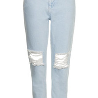 MOTO Ice Ripped Mom Jeans - Bleach
