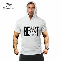 Seven Joe.New Men GYMS Hoodie T-Shirt Cotton short Sleeve fitness Clothing Bodybuilding Slim Fit Sportwear Hoodie hoody T shirt