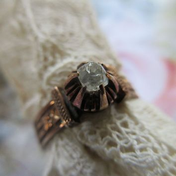 Victorian 10K Old Mine Cut Diamond Ring