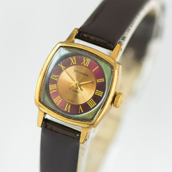 Square women's watch, gold plated wristwatch, Sekonda watch small, burgundy copper shades watch her, genuine leather strap new
