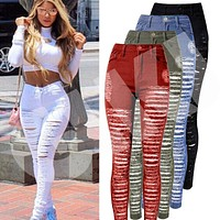 Ripped Denim Jeans Skinny Hole Pants High Waist Stretch