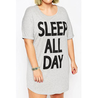 Casual Scoop Neck Short Sleeve Letter Print Plus Size Women'S Dress Plus Size LAVELIQ