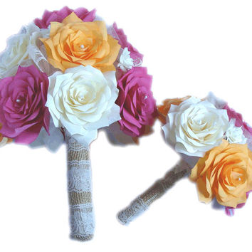 Hot pink Bridal bouquet package, Begonia bouquet, Tangerine bouquet, Paper bouquets, Burlap Bouquet, Fake flower bouquets, Vintage bouquets