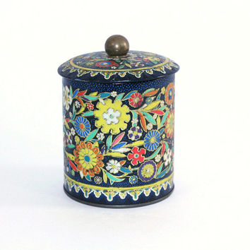 Vintage Tea Tin Made in England | Navy Red Orange Yellow Floral Tea Tin Designed by Daher | Small Metal Tea Box | Round Tea Container