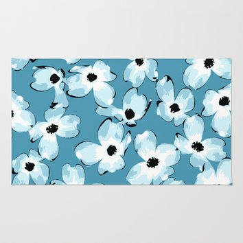 Dogwood Floral: Teal Area & Throw Rug by Eileen Paulino