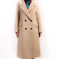 Light Camel Cashmere & Wool Double-Breasted Buttons Long Coat