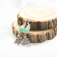 Christmas Tree Earrings, Holiday Earrings, Winter Agate Earrings, Silver Winter Gift