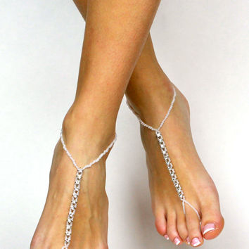 Rhinestone and White Beads Barefoot Sandals Rhinestone Sandals Beach Wedding Shoes Destination Wedding Anklet Foot Jewelry for Bride