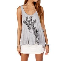 Heather Grey Stencil Giraffe Tee