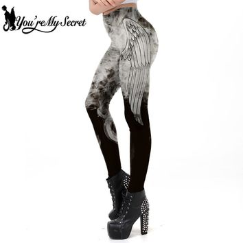 [You're My Secret] 2018 New Punk Style Dark Grey Angel Wing Smog Printed Leggins Women Gothic Workout Legging Fitness Ankle Pant