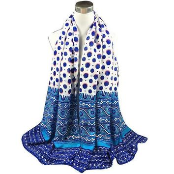 Autumn Winter National Styletwill Polka Dot Long Scarf Women Printed Cotton Sarong Wrap Shawl Scarves Thick Brand Shawls