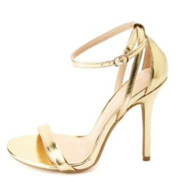 Metallic Single Strap Heels by Charlotte Russe - Gold