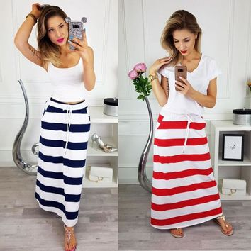 New Plus Size Womens Plain Stretch Elasticated Ladies Full Long Skirt Striped