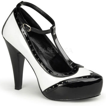 Pinup Couture Black and White T-Strap Pumps