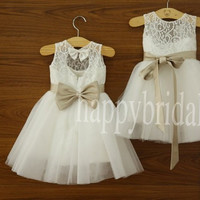 White Lae Flower Girl Dresses Beautiful Bow Flower Party Dresses 2014 New Fashion